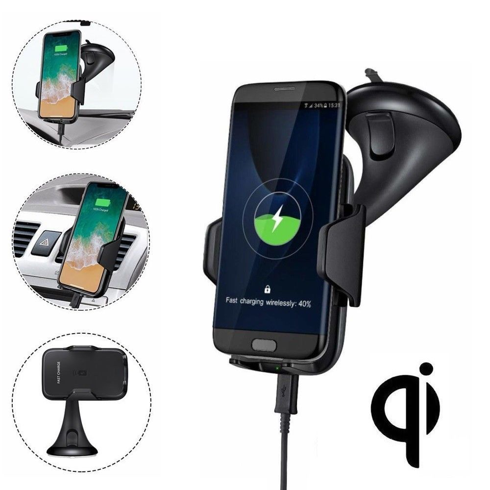 Universal 360 Degree Rotating QI Wireless Car Charger Kit + Mount