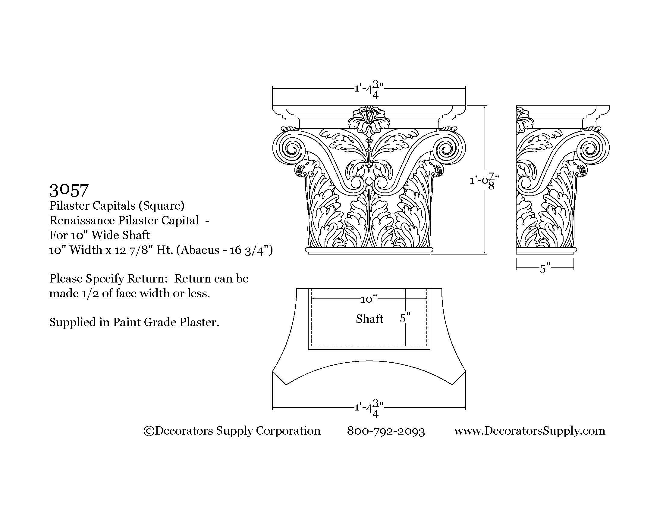 Exterior: Architectural Pilaster Capital. Nearly 30 Styles. Hundreds