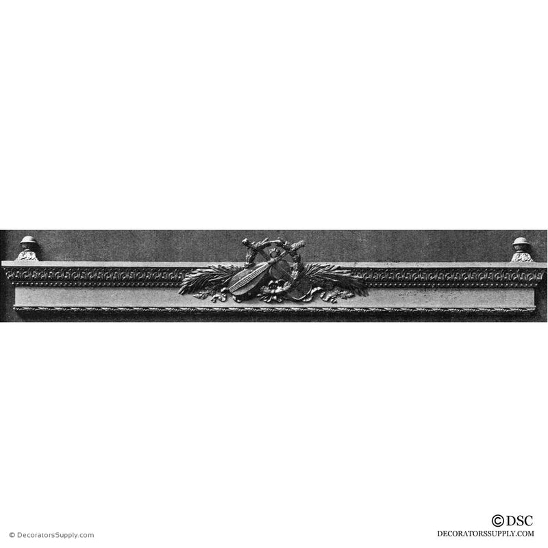 Valance/Instrument-Louis XVI 5 1/8H X 51 7/8W- 7 3/4-3 1/Rel-hand-built-custom-sizes-Decorators Supply