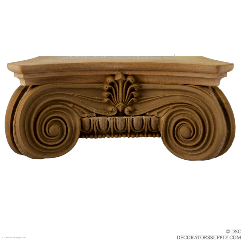 Stain Grade Wood Pilaster Capital [Half Square] - Modern Ionic Semi-Classic-Decorators Supply