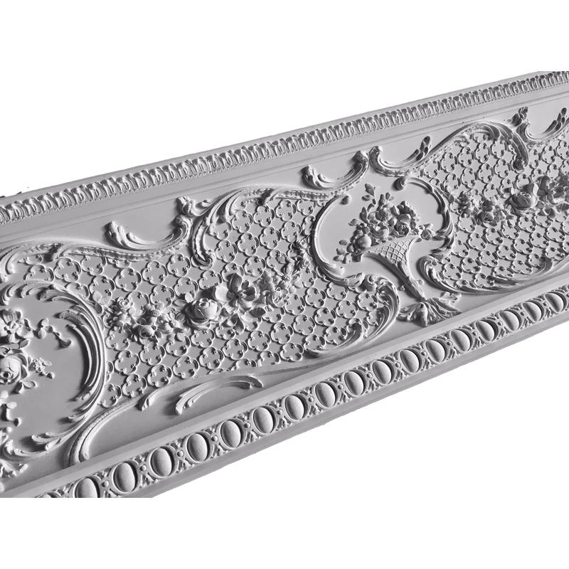 "Plaster Crown Festooned Cove Molding Louis XV 9-1/4"" P x 10"" D x 42"" R"
