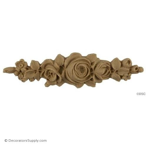 Rose Drop Applique for Wood 1 1/2 High 5 1/2 Wide-ornaments-furniture-woodwork-Decorators Supply