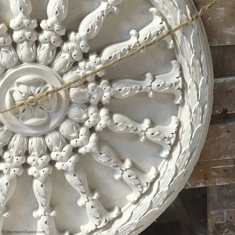 "32-1/2"" Diameter Plaster Medallion Or Vented Grille French Renaissance x 2"" Relief"
