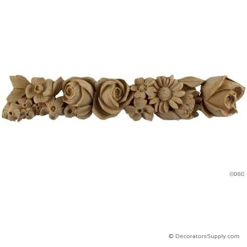 "Rose & Floral Moulding 2H - 1 1/8 Rel - Repeat - 12 1/4""-moulding-for-furniture-woodwork-Decorators Supply"