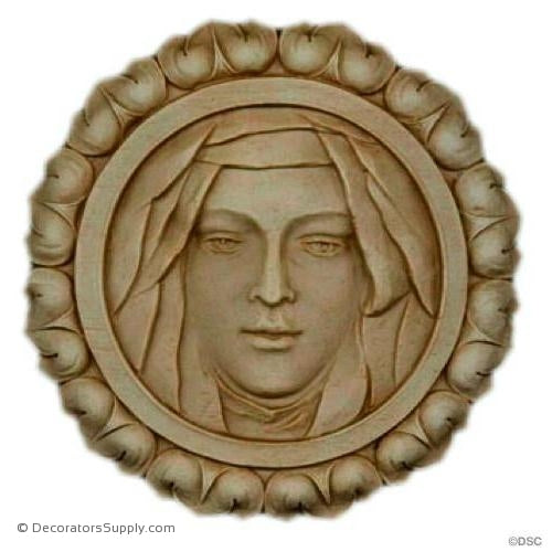 Rosette - Circle-Plaque -Face- 3 7/8Diameter - 1/4Relief-woodwork-furniture-ornaments-Decorators Supply