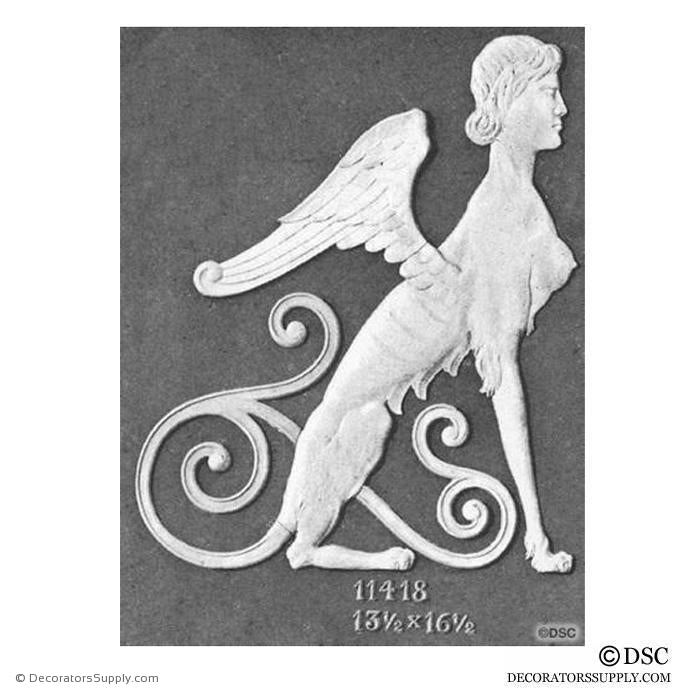 Decorative Sphinx Applique - 16 1/2H X 13 1/2W - 3/8Relief - Decorators Supply