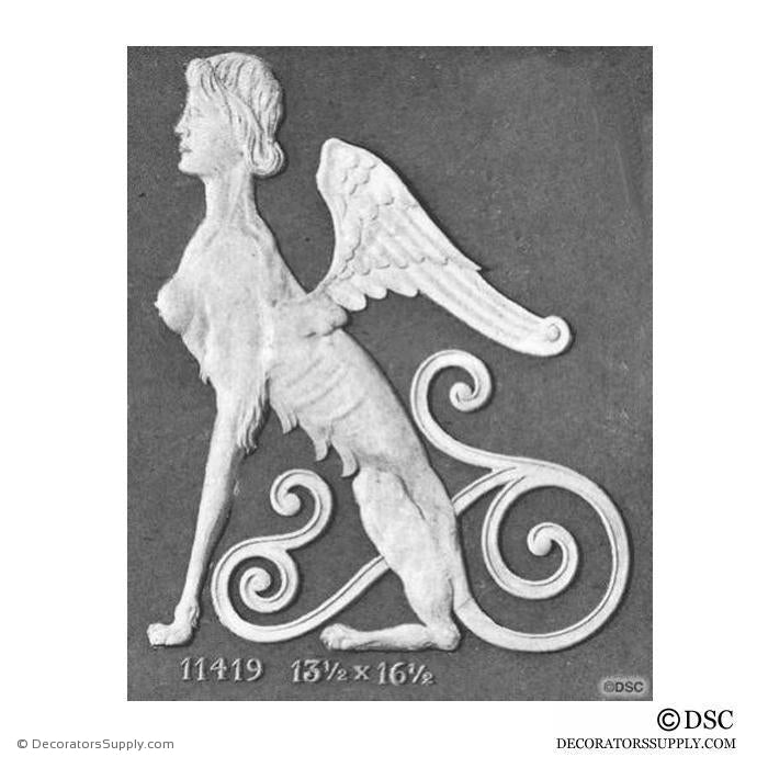 Decorative Sphinx - 16 1/2H X 13 1/2W - 3/8Relief - Decorators Supply