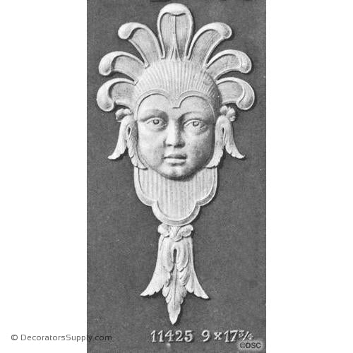 Face-Head 17 3/4H X 9W - 7/8Relief-historic-carving-library-victorian-styles-Decorators Supply