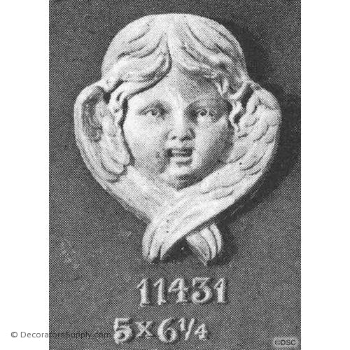 Cherub - 6 1/4H X 5W - 1 1/8Relief-historic-carving-library-victorian-styles-Decorators Supply