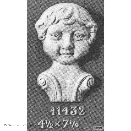Face-Head 7 1/4H X 4 1/2W - 2Relief-historic-carving-library-victorian-styles-Decorators Supply