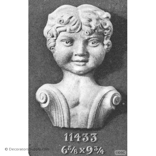Face-Head 9 3/4H X 6 5/8W - 2 1/2Relief-historic-carving-library-victorian-styles-Decorators Supply