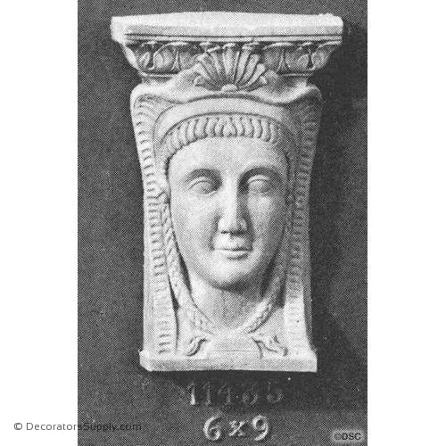 Egyptian Face - 9H X 6W - 1 5/8Relief-historic-carving-library-victorian-styles-Decorators Supply