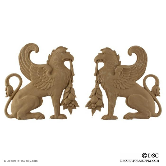 "Decorative Griffin Applique for Wood 7 3/4H X 7 5/8W X 1/2"" Relief - Decorators Supply"