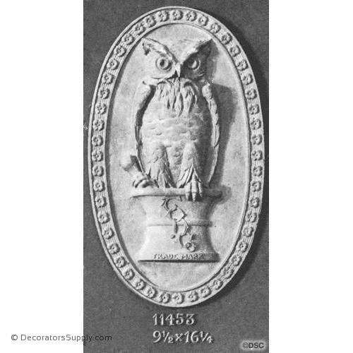 Bird-Owl 16 1/4H X 9 1/2W - 1 1/8Relief-Decorators Supply