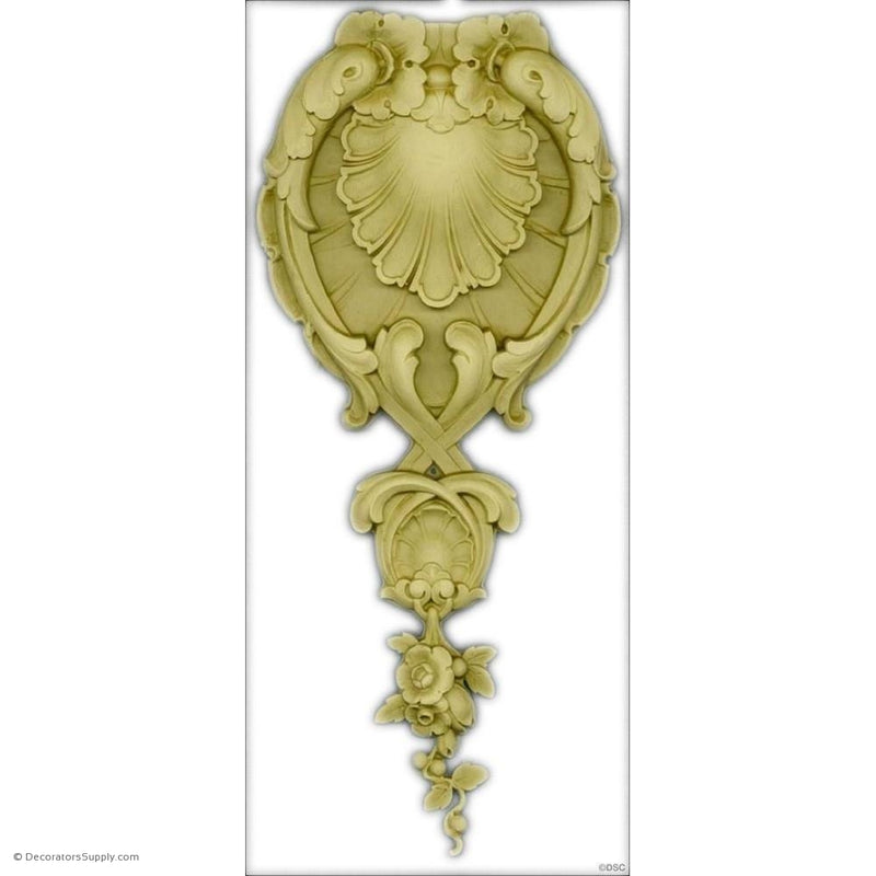 Shell and Flower Drop - Fr. Ren. 13 1/2H X 7 1/4W - 1/2Rlf-vertical-design-woodwork-furniture-Decorators Supply