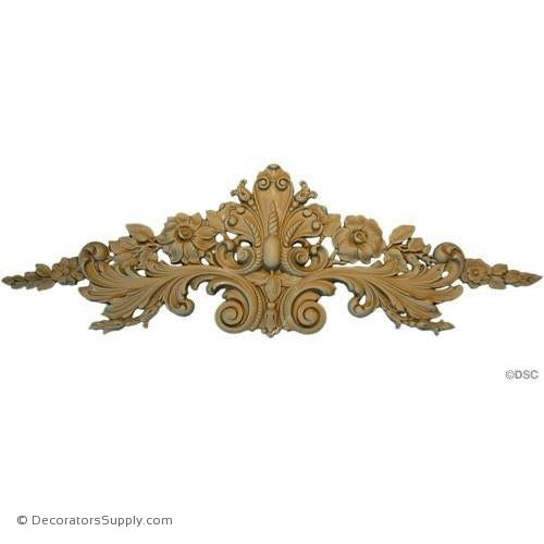 Floral Cartouche-Fr. Ren. 6 5/8H X 20 1/2W - 3/8Relief-appliques-for-woodwork-furniture-Decorators Supply