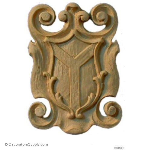 Shield-French 4 5/8H X 3 3/8W - 1/4Relief-furniture-woodwork-ornaments-Decorators Supply