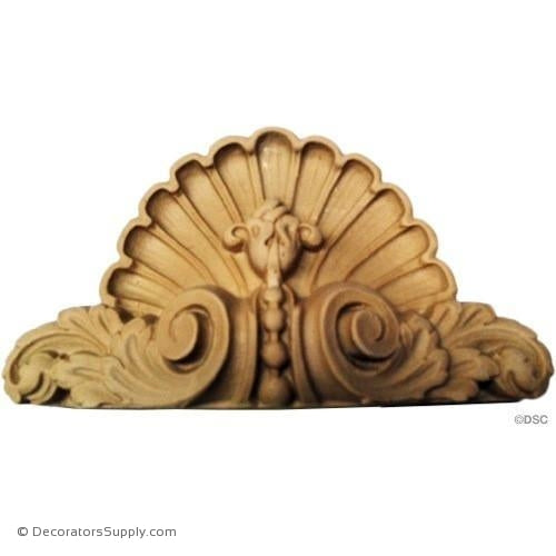 Shell-Fr. Ren. 3 3/4H X 6 3/4W - 1 5/8Relief-ornaments-for-woodwork-furniture-Decorators Supply