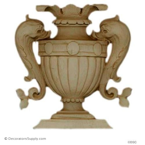 Urn with Serpents-Italian 4 5/8H X 4 3/8W - 3/16Relief-ornaments-for-furniture-woodwork-Decorators Supply