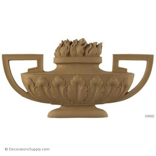 Urn w/Flames-Louis XVI 6H X 11 3/4W - 1/2Relief-ornaments-for-furniture-woodwork-Decorators Supply