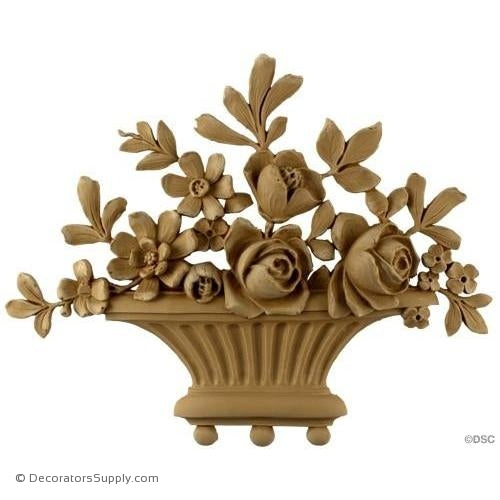 Rose Basket-Louis XVI 9 1/4H X 11 3/4W - 7/8Relief-ornaments-for-furniture-woodwork-Decorators Supply