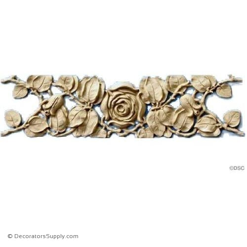 Rose Vine Design - French 4H X 15 1/4W - 1/2Relief-ornaments-furniture-woodwork-Decorators Supply