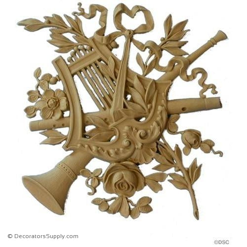 Musical Instrument -Louis XVI 11H X 10 3/4W - 3/8Rel-ornaments-for-woodwork-furniture-Decorators Supply