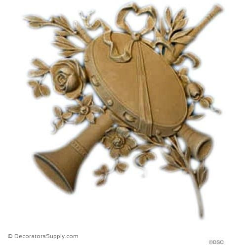 Musical Instrument -Louis XVI 11H X 10 1/2W - 1/2Relief-ornaments-for-woodwork-furniture-Decorators Supply