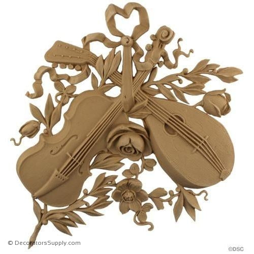 Musical Instrument -Louis XVI 11H X 11W - 3/8Relief-ornaments-for-woodwork-furniture-Decorators Supply