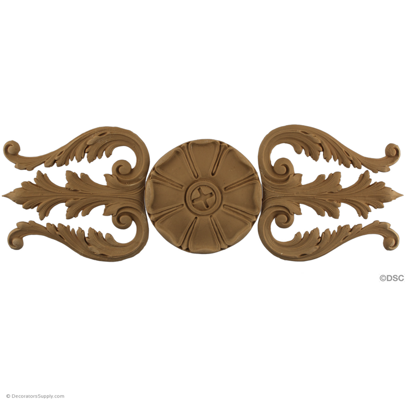 Acanthus and Rosette Design - Ren. 15H X 5 1/2W - 1/4Relief-vertical-design-woodwork-furniture-Decorators Supply