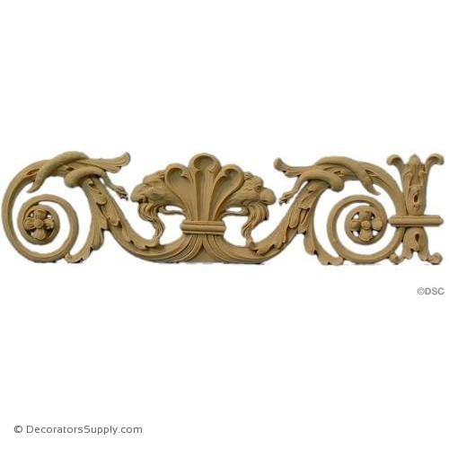 Shell Scroll Design-Spanish 3 1/2H X 14W - 5/16Relief-ornaments-for-woodwork-furniture-Decorators Supply