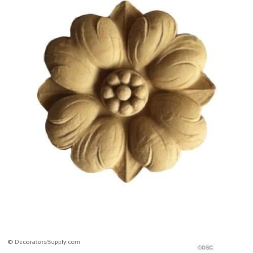 Rosette - Circle-Ren. - 3 1/8Diameter - 1/4Relief-woodwork-furniture-ornaments-Decorators Supply