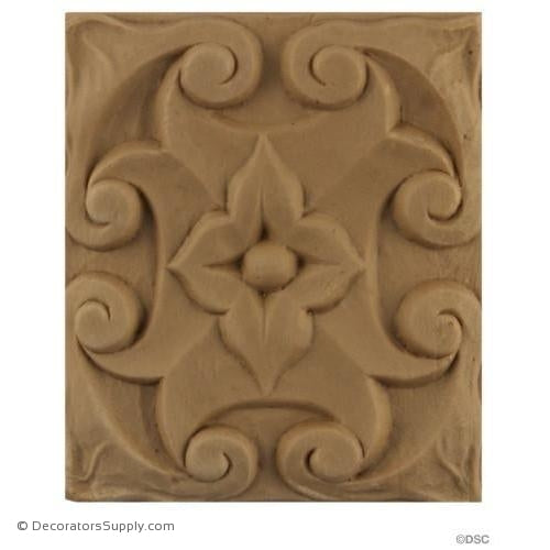 Rosette - Rectangular-Modern 3 5/8H X 3 1/4W - 3/8Relief-ornaments-for-woodwork-furniture-Decorators Supply