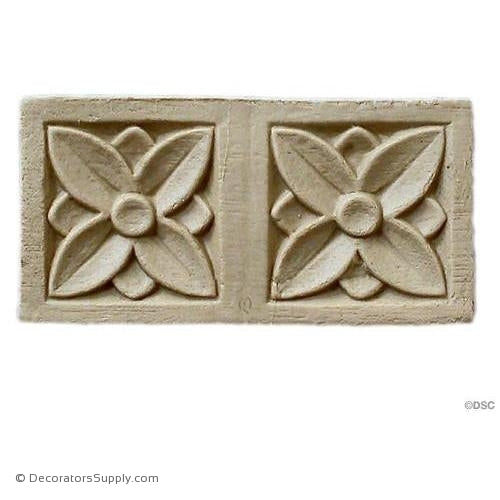 Rosette - Rectangular-Modern 3H X 1 1/2W - 1/8Relief-ornaments-for-woodwork-furniture-Decorators Supply