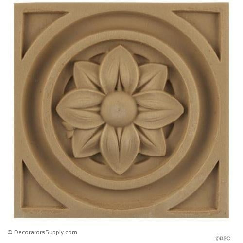 Rosette - Square-Ren. 3 3/4H X 3 3/4W - 7/16Relief-ornaments-for-woodwork-furniture-Decorators Supply