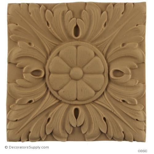 Rosette - Square-Ren. Ea. 4 1/2H X 4 1/2W - 1/4Relief-ornaments-for-woodwork-furniture-Decorators Supply