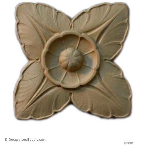 Rosette - Square-Ren. Ea. 5 3/4H X 5 3/4W - 3/8Relief-ornaments-for-woodwork-furniture-Decorators Supply