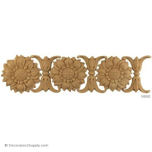 Sunflower & Leaf-Ren. 3 1/4H - 1/4Relief-moulding-for-furniture-woodwork-Decorators Supply