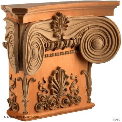 Stain Grade Wood Pilaster Capital [Half Square] - Modern Ionic Empire with Necking-Decorators Supply