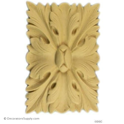 Rosette - Rectangular 2 1/2 High 1 1/2 Wide-ornaments-for-woodwork-furniture-Decorators Supply