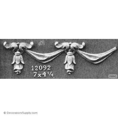 Swag - Colonial - 4 1/4H X 7W - 5/8Relief-applique-onlay-for-furniture-woodwork-Decorators Supply