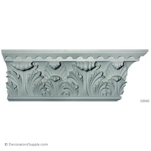 "Plaster Crown Molding Romanesque with Acanthus Leaf 3-1/2"" P x 12"" D x 14"" R"