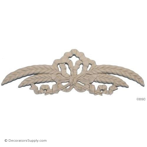 Wheat and Ribbon Cartouche 3 1/4 in. Wide x 10 in.-ornaments-for-woodwork-furniture-Decorators Supply