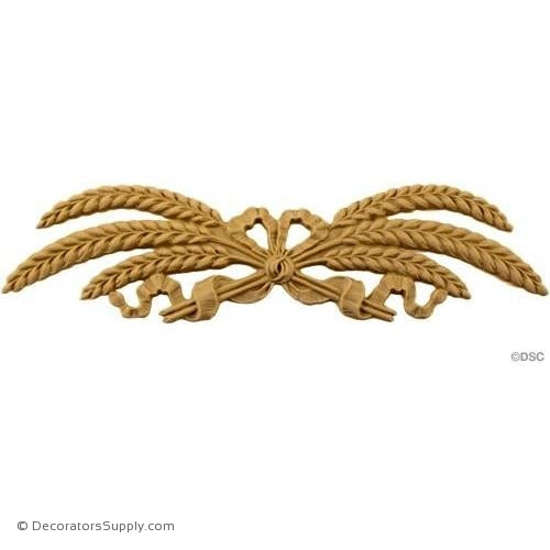 Wheat and Ribbon Cartouche 2 1/4 High 8 1/4 Wide-ornaments-for-woodwork-furniture-Decorators Supply