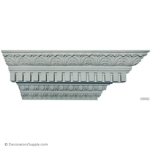 Plaster Crown- Roman-10 1/8 Proj X 10 1/2 Drop-3 3/8 Rep-Decorators Supply