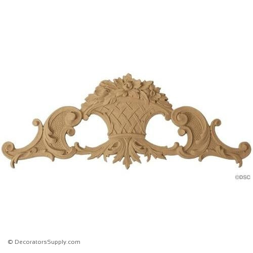 Floral Basket 4 1/4 High 10 1/2 Wide 3/8 Relief-ornaments-for-furniture-woodwork-Decorators Supply