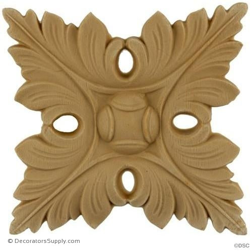 Rosette - Rectangular 4 1/2 High 4 1/4 Wide 3/8 Relie-ornaments-for-woodwork-furniture-Decorators Supply