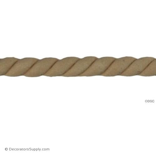 Rope 1/4 High 3/16 Relief-moulding-for-woodwork-furniture-Decorators Supply