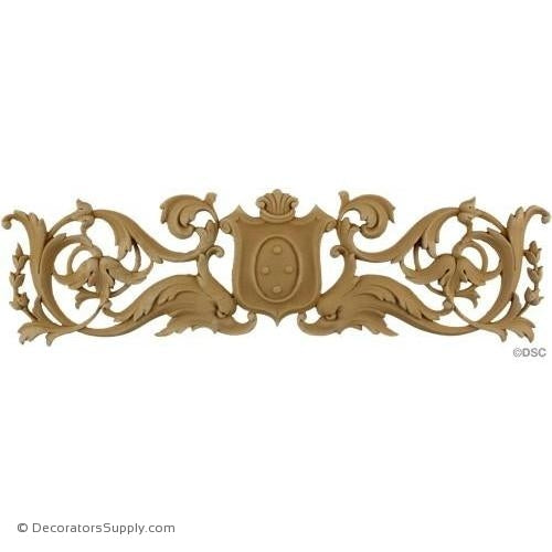 Cartouche 4 1/4 High 15 1/2 Wide 3/8 Relief-appliques-for-woodwork-furniture-Decorators Supply