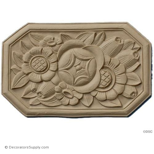 Art Nouveau Rosette 5 3/8 High 8 1/2 Wide 1/4 Relief-ornaments-for-woodwork-furniture-Decorators Supply